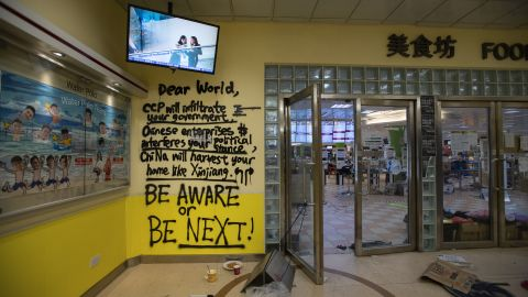 Graffiti is seen at the entrance of the canteen, which became something of a headquarters for protesters at PolyU.