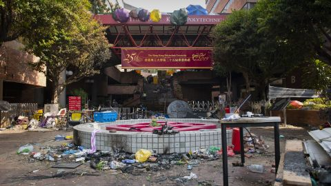 One of the main entrances to Hong Kong's Polytechnic University as seen Tuesday morning.