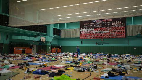 The nearly-empty gymnasium.