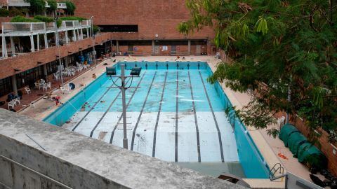 A pool that was emptied and used for petrol bomb practice by protesters is seen Tuesday.