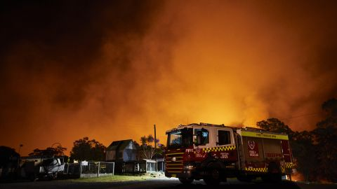 COLO HEIGHTS, AUSTRALIA - NOVEMBER 15: Flames illuminate the sky over a property on Putty road on November 15, 2019 in Colo Heights, Australia. The warning has been issued for a 80,000-hectare blaze at Gospers Mountain, which is burning in the direction of Colo Heights. An estimated million hectares of land has been burned by bushfire across Australia following catastrophic fire conditions - the highest possible level of bushfire danger - in the past week. A state of emergency was declared by NSW Premier Gladys Berejiklian on Monday 11 November and is still in effect, giving emergency powers to Rural Fire Service Commissioner Shane Fitzsimmons and prohibiting fires across the state. Four people have died following the bushfires in NSW this week. (Photo by Brett Hemmings/Getty Images)