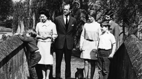 The royal family poses for photos in 1968. Prince Andrew is at bottom right. He is joined by his parents and his three siblings, including his younger brother, Prince Edward.
