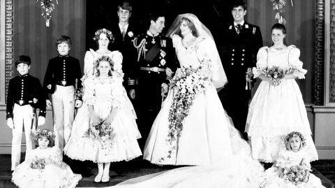 Prince Andrew is second from right in this photo taken at the 1981 wedding of his brother Prince Charles.