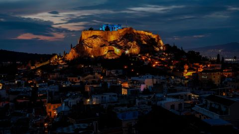 <strong>Athens:</strong> In the Greek capital, the ancient Acropolis citadel was lit blue to celebrate the UN's World Children's Day on November 20, 2019. <br />