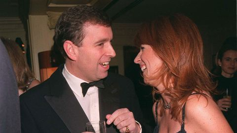 Prince Andrew attends a party with girlfriend Aurelia Cecil in 1999.