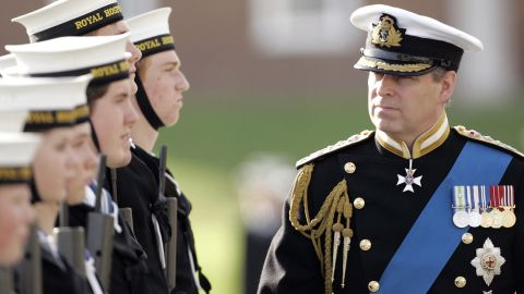 Prince Andrew visits the Royal Hospital School in Holbrook, England, in 2006.