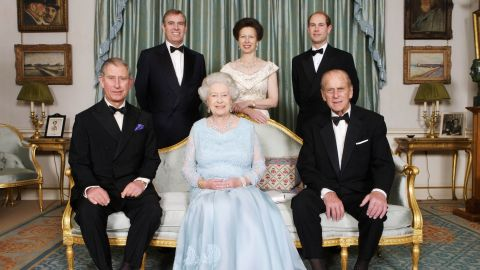Prince Andrew, back left, poses with his parents and his siblings for a family photo in 2007.