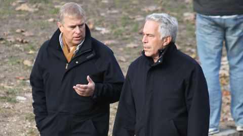 Prince Andrew and Jeffrey Epstein walk through New York's Central Park in 2011.