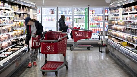 Customers shop in the grocery area at a Target Corp. store in Chicago, Illinois, U.S., on Saturday, Nov. 16, 2019. Target Corp. is scheduled to release earnings figures on November 20. Photographer: Daniel Acker/Bloomberg via Getty Images