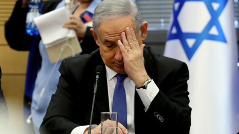 Israeli Prime Minister Benjamin Netanyahu gestures as he speaks during a meeting of the right-wing bloc at the Knesset (Israeli parliament) in Jerusalem on November 20, 2019. (Photo by GALI TIBBON / AFP) (Photo by GALI TIBBON/AFP via Getty Images)