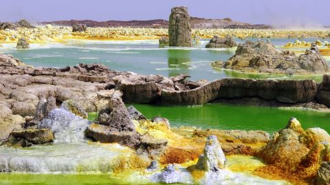 Ethiopia's geothermal field Dallol is full of acidic, salty and hot ponds that don't allow life to form.