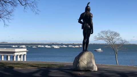 A statue of Massasoit overlooks the sea at Cole's Hill.