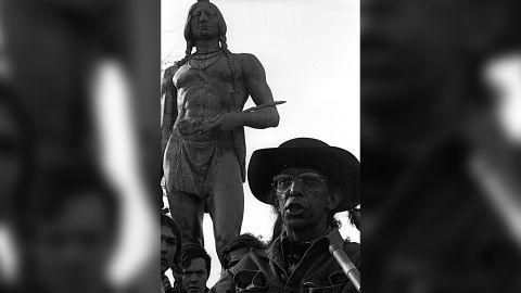 Wamsutta Frank James speaks in 1974 at the statue of Massasoit near Plymouth, Massachusetts.