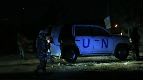 Afghan security personnel arrive at the site of explosion in Kabul, Afghanistan, Sunday.