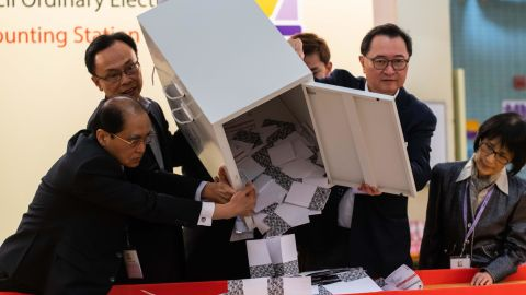 """HONG KONG, CHINA - NOVEMBER 24: Barnabus Fung (2nd R) and Patrick Nip Tak-kuen (2nd L) empty a ballot box to count votes at a polling station on November 24, 2019 in Hong Kong, China. Hong Kong held its district council election on Sunday as anti-government protests continue into a sixth month, with demands for an independent inquiry into police brutality, the retraction of the word """"riot"""" to describe the rallies, and genuine universal suffrage. (Photo by Billy H.C. Kwok/Getty Images)"""