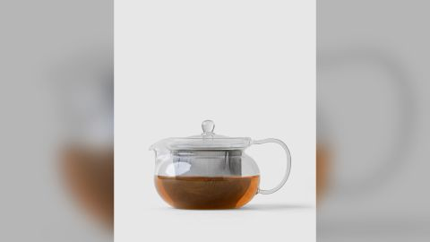 A $25 glass teapot made by Tokyo company Hario.