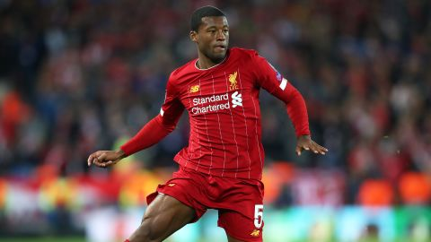 LIVERPOOL, ENGLAND - OCTOBER 02: Georginio Wijnaldum of Liverpool runs with the ball during the UEFA Champions League group E match between Liverpool FC and RB Salzburg at Anfield on October 02, 2019 in Liverpool, United Kingdom. (Photo by Clive Brunskill/Getty Images)