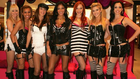 The Pussycat Dolls attend an event to launch their new Stila Pussycat Doll makeup collection in 2005 at Selfridges in London.