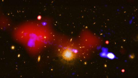 (Full credit: X-ray: NASA/CXC/INAF/R. Gilli et al.; Radio NRAO/VLA; Optical: NASA/STScI)