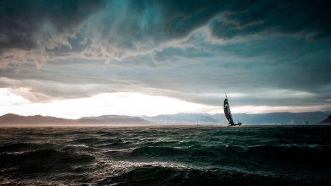 <strong>Loris von Siebenthal. </strong>A D35 catamaran battles an incoming storm during the Bol d'Or Mirabaud on Lake Geneva in June.