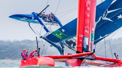 <strong>Ian Roman. </strong>Team USA's SailGP boat slowly capsizes after bearing away around the first mark during an event in Cowes, UK.