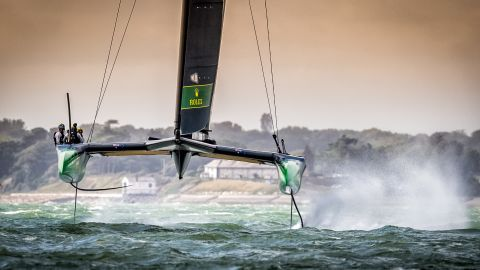 <strong> 5. Sam Kurtul. </strong>The Australian SailGP team breaks the 50-knot barrier on their F50 catamaran in testing conditions on the Solent during an event in Cowes, UK.