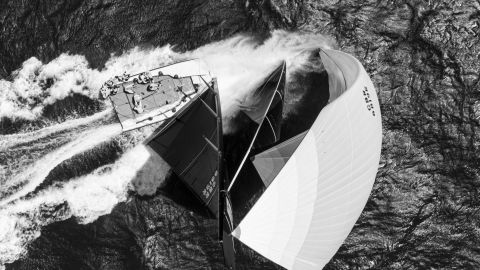 <strong> 8. Eike Schurr. </strong>British yacht Alegre blasts downwind during the Cascais 52 Super Series Sailing Week in Portugal, taken from a drone.