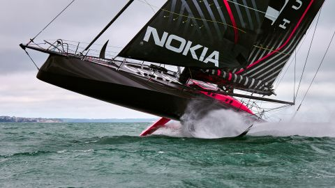 <strong> 9. Graham Snook. </strong>Alex Thomson's Hugo Boss boat flies on her foils during testing in strong winds off Portsmouth, UK.