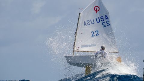 <strong>10. Matias Capizzano. </strong>Tommy Sitzmann takes to the air in his Optimist at the St Thomas International Optimist Regatta.