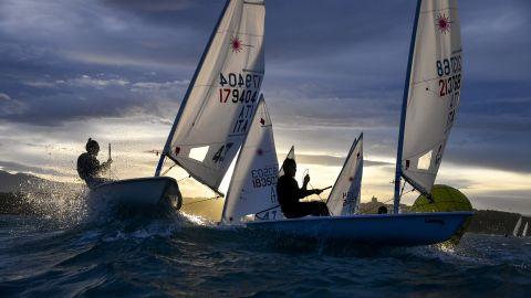 <strong> 12. Marta Rovatti Studihrad. </strong>Boats round a mark late on a November afternoon during the Italia Cup Laser at Ortona.