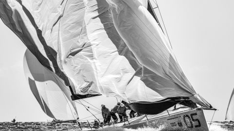 <strong> 13. James Tomlinson.  </strong>A black and white study of the yacht Sled dropping its spinnaker during the TP52 World Championships at Puerto Portals, Spain.