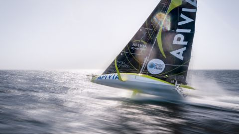 <strong> 14. Maxime Horlaville.</strong> A slow shutter speed drone shot of Charlie Dalin sailing the yacht Apivia on the Bay of Biscay off western France.