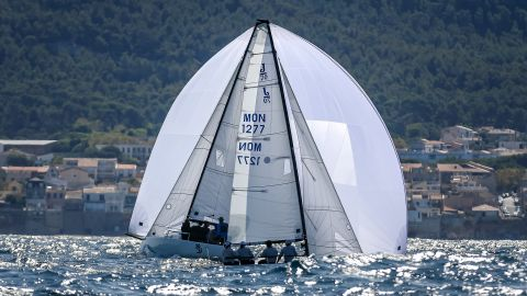 <strong> 16. Pierick Jeannoutot. </strong>A pair of J70 yachts align in perfect symmetry near the finish of a race in Marseilles, France.