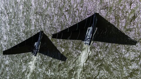 <strong>17. Fabio Taccola. </strong>The giant mainsails of Supernikka and Pendragon cast shadows during the 151 Miglia race from Livorno, Italy to Punta Ala, Italy via the Giraglia rock off Corsica.