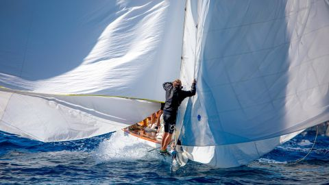 <strong> 20. Thomas Campion. </strong>A bowman trims the billowing sails of Marga during the Les Voiles de Saint-Tropez race in France.