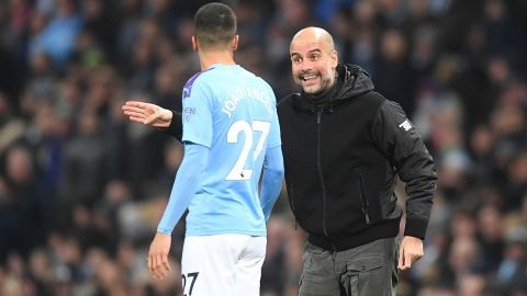 Pep Guardiola, manager of Manchester City, during a Premier League match against Chelsea.