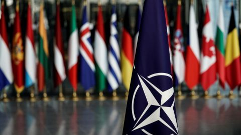 A picture taken on November 20, 2019 shows   a NATO flag  at the NATO headquarters in Brussels, during a NATO Foreign Affairs ministers' summit. - NATO Foreign Affairs ministers are meeting ahead of a NATO leaders' summit in London on December 3 and 4, 2019. (Photo by Kenzo TRIBOUILLARD / AFP) (Photo by KENZO TRIBOUILLARD/AFP via Getty Images)