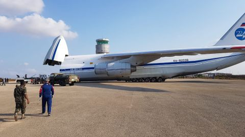 This image, shared widely on social media and verified by a CNN source, appear to show a Russian Antonov 124 transport plane  arriving in September at Nacala on Mozambique's eastern coast delivering military hardware.