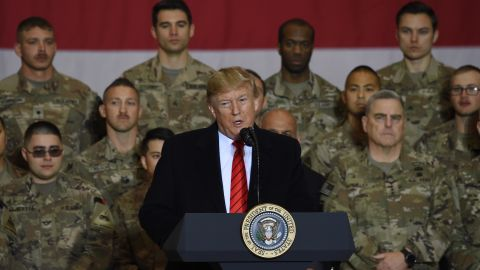 US President Donald Trump speaks to the troops during a surprise Thanksgiving day visit at Bagram Air Field, on November 28, 2019 in Afghanistan.