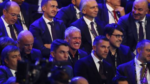 France manager Didier Deschamps (center) laughs as the Euro 2020 draw was made.