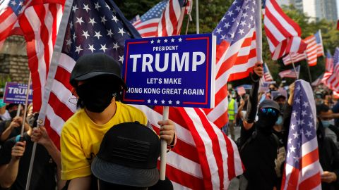 Protesters stage a rally outside the US Consulate in Hong Kong on Sunday, December 1. Hundreds gathered Sunday afternoon outside the US Consulate for another pro-US rally to show support for President Trump after he signed the Hong Kong Human Rights and Democracy Act into law.