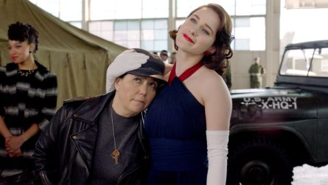 Alex Borstein and Rachel Brosnahan in 'The Marvelous Mrs. Maisel'