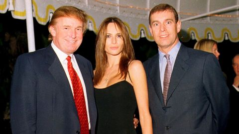 US President Donald Trump, First Lady Melania Trump and Britain's Prince Andrew at the Mar-a-Lago estate, Palm Beach, Florida on February 12 in 2000.