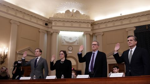 Noah Feldman, Felix Frankfurter professor of law at Harvard Law School, from left, Pamela Karlan, Kenneth and Harle Montgomery professor of public interest law at Stanford Law School, Michael Gerhardt, Burton Craige distinguished professor of jurisprudence at the University of North Carolina School of Law,and Jonathan Turley, J.B. and Maurice C. Shapiro professor of public interest law at the George Washington University Law School, swear in to a House Judiciary Committee impeachment inquiry hearing in Washington, D.C., U.S., on Wednesday, Dec. 4, 2019.