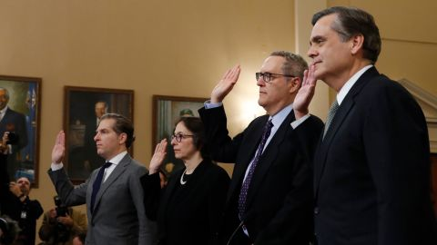 From left, Constitutional law experts, Harvard Law School professor Noah Feldman, Stanford Law School professor Pamela Karlan, University of North Carolina Law School professor Michael Gerhardt and George Washington University Law School professor Jonathan Turley are sworn in before testifying during a hearing before the House Judiciary Committee on the constitutional grounds for the impeachment of President Donald Trump, on Capitol Hill in Washington, Wednesday, Dec. 4, 2019.