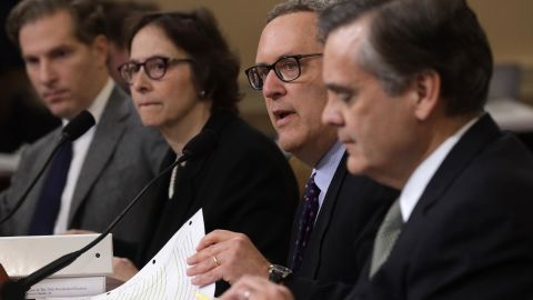 Constitutional scholars (L-R) Noah Feldman of Harvard University, Pamela Karlan of Stanford University, Michael Gerhardt of the University of North Carolina, and Jonathan Turley of George Washington University testify before the House Judiciary Committee in the Longworth House Office Building on Capitol Hill December 4, 2019 in Washington, DC. This is the first hearing held by the House Judiciary Committee in the impeachment inquiry against U.S. President Donald Trump, whom House Democrats say held back military aid for Ukraine while demanding it investigate his political rivals. The Judiciary Committee will decide whether to draft official articles of impeachment against President Trump to be voted on by the full House of Representatives.