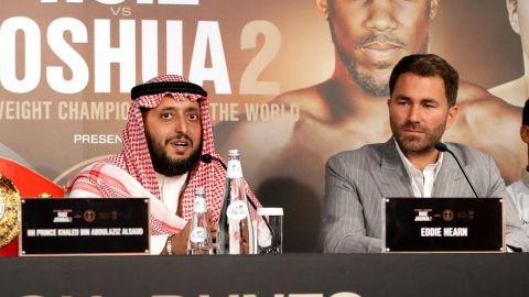 HH Prince Khalid Bin Abdulaziz Al Saud and Eddie Hearn during the fight's press conference.