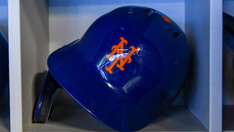 MIAMI, FL - MAY 19: A detailed view of the batting helmet worn by Robinson Cano #24 of the New York Mets before the start of the game against the Miami Marlins at Marlins Park on May 19, 2019 in Miami, Florida. (Photo by Eric Espada/Getty Images)