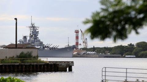 A US naval ship can been seen from Pearl Harbor National Memorial Wednesday, December 4.