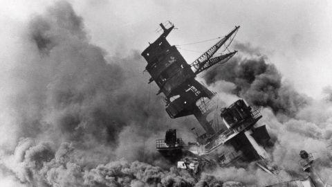 Smoke envelops the USS Arizona before it sank.